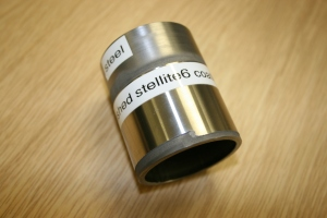 Stellite 6 deposited onto 50 mm mild steel tube